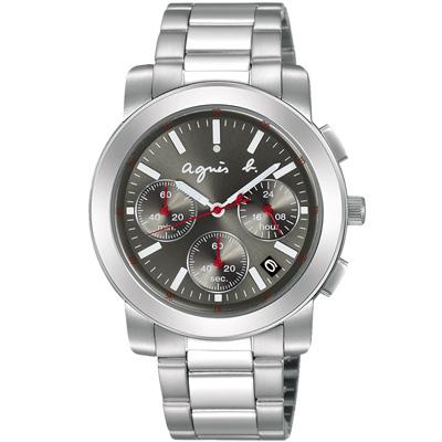 agnes b. 純粹時尚 三眼計時腕錶(BT3030X1)-銀X灰/38mm