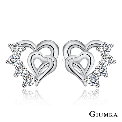 GIUMKA純銀針式耳環-心心鑲印愛心耳釘-銀色
