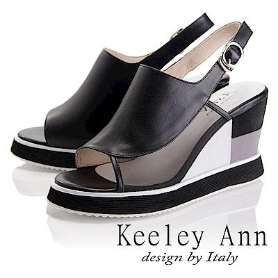 Keeley Ann 簡約美感~撞色拼接感楔形魚口涼鞋(黑色-Asin系列)