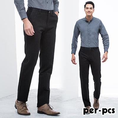 per-pcs-都會紳士彈性休閒長褲_黑色藍點(815155)