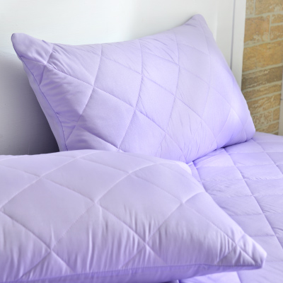 Grace Life 炫彩紫 台灣製吸濕排汗信封式保潔枕套--一對