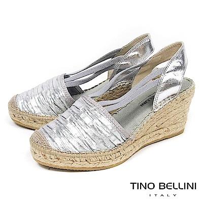 Tino Bellini西班牙進口皺摺造型楔型涼鞋_ 銀