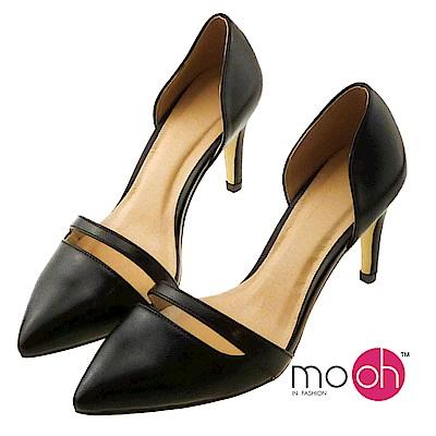 mo.oh-尖頭鏤空素面高跟鞋-黑色