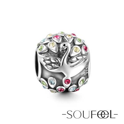 SOUFEEL索菲爾 925純銀珠飾 孔雀開屏 串珠