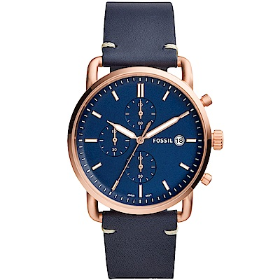 FOSSIL Commuter質感三眼計時真皮手錶(FS5404)-藍X玫瑰金/42mm