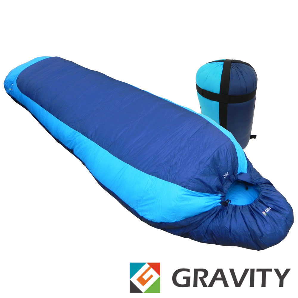 【台灣 Gravity】100%天然潑水水鳥羽絨睡袋400g(JIS90/10)_藍