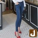 正韓  顯瘦感低腰貼腿窄管褲-(藍色)100%Korea Jeans