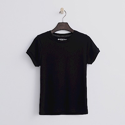 Hang Ten - 女裝 - 有機棉 圓領多彩T恤-黑色