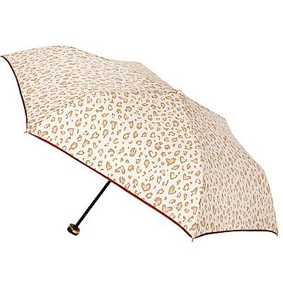 2mm 甜蜜豹紋 晴雨兩用輕量手開傘 (米白)