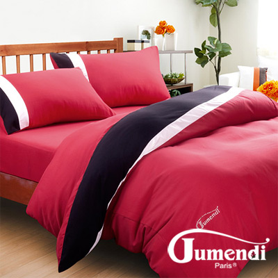 Jumendi-水鑽之星.紅 台灣製防蹣抗菌被套床包組-雙人