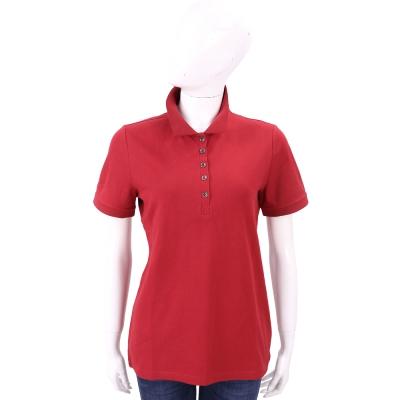BURBERRY 格紋飾邊伸縮棉質網眼POLO衫(軍紅色)