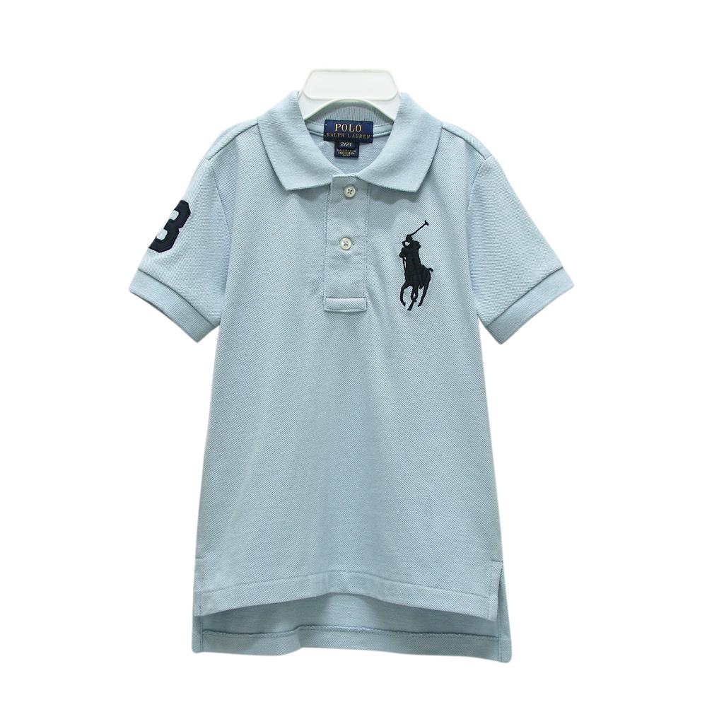 Ralph Lauren 男童數字3刺繡大馬短袖POLO衫-淺藍色(2/2T)
