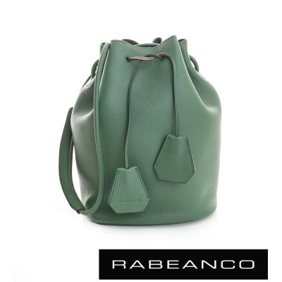 RABEANCO 真皮經典束口水桶包 暗雲杉綠
