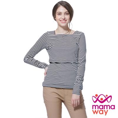 孕婦裝 哺乳衣 線條方形領孕哺上衣(共二色) Mamaway