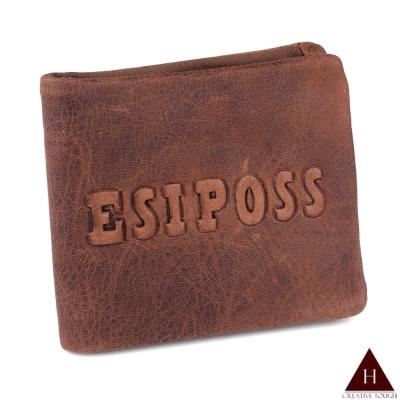 H-CT ESIPOSS牛皮紙質感紅棕短夾(E235-3K-Z)