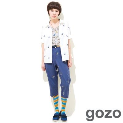 gozo-女孩釣魚寬鬆口袋七分褲-二色