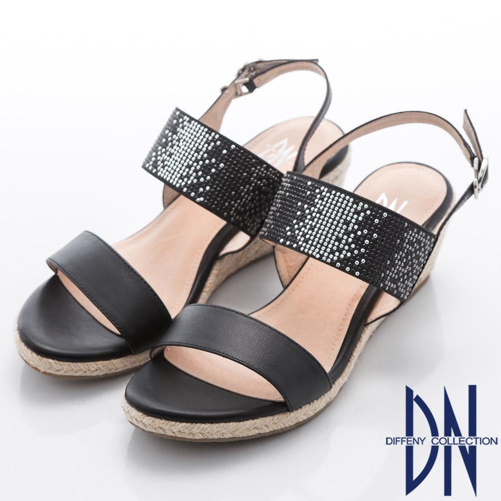 DN 悠閒假期 水鑽一字寬帶麻繩編織楔型涼鞋-黑