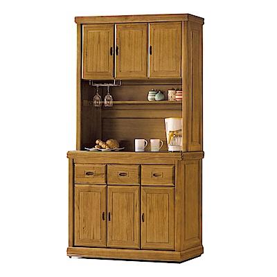 品家居 德貝4尺梧桐木實木玻璃餐櫃組合-119.4x43.8x198.3cm免組