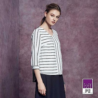 ILEY伊蕾 時尚剪接配色條紋圓領上衣魅力價商品(白)