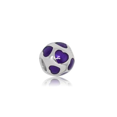 Pandora 潘朵拉 紫色搪瓷愛心 純銀墜飾 串珠