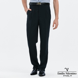 Emilio Valentino 范倫提諾吸濕排汗條紋打摺西褲-丈青