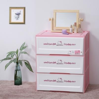 樹德SHUTER X Hello Kitty天使KITTY系統式單抽收納櫃36L(3入)