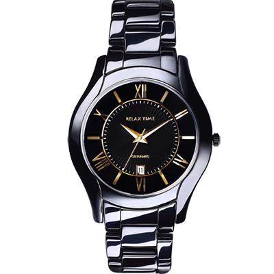 Relax Time 羅馬古典風陶瓷腕錶-黑x金時標/44mm