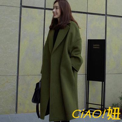 純色翻領開衩擺附腰帶毛呢大衣-墨綠色-CIAO妞