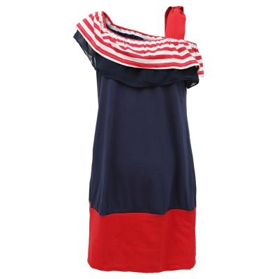 【ohoh-mini 孕婦裝】美國風情條紋斜肩拼布孕婦上衣