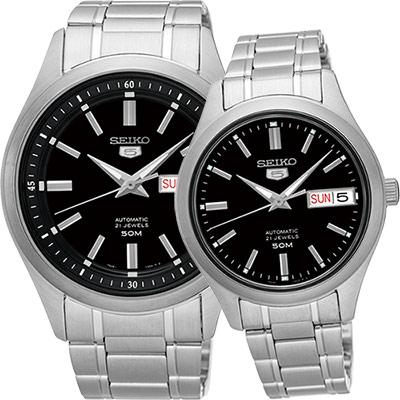 SEIKO 精工 5號盾牌日曆機械對錶(SNKN89J1+SNK883J1)-黑x銀