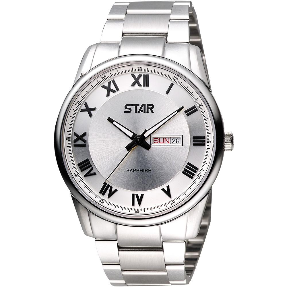 STAR 羅馬經典藍寶石水晶時尚腕錶-銀/43mm