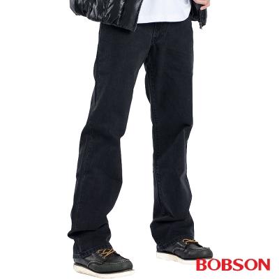 【BOBSON】男款嘻哈酷中直筒牛仔褲(黑87)