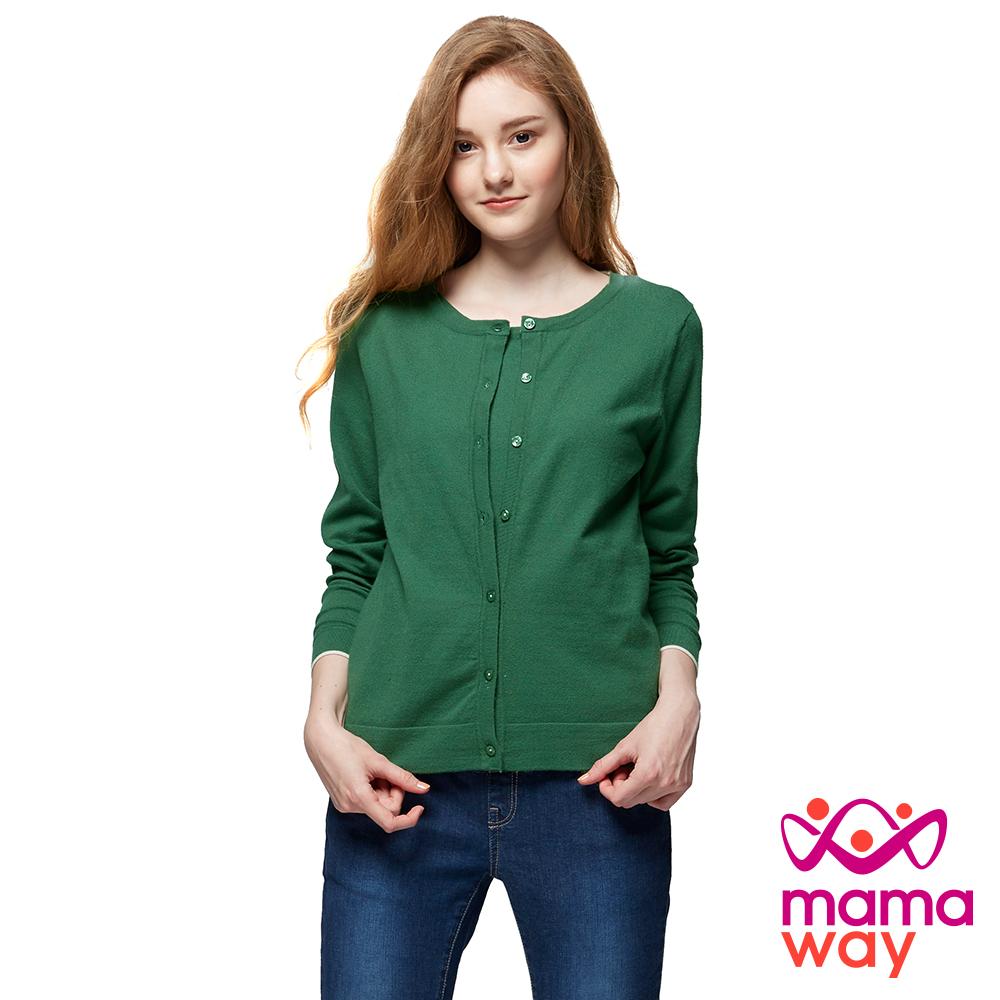 mamaway媽媽餵 針織毛衣假2件哺乳上衣(共4色)