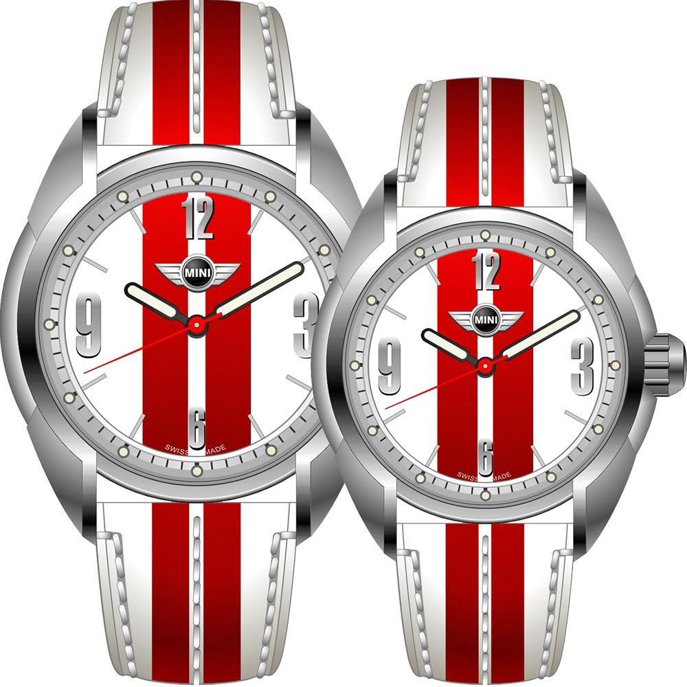 MINI Swiss Watches   休閒運動造型對錶-白+紅/45+38mm