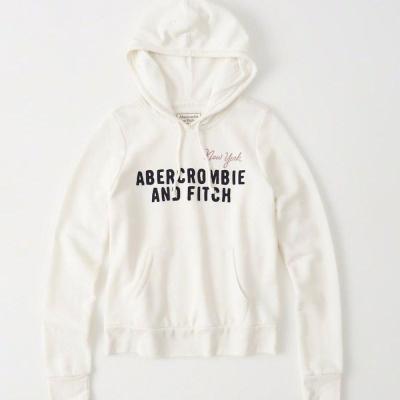 AF a&f Abercrombie & Fitch 女 帽T 白 0188