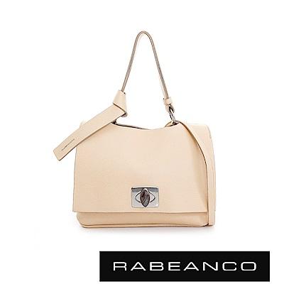 RABEANCO 閃耀系列精緻寶石釦羊皮晚宴包-米白