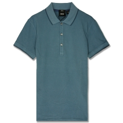 HUGO BOSS 黑標素面POLO男衫(灰藍)