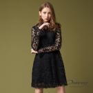 OUWEY歐薇 奢華縷空蕾絲兩件式洋裝(黑)-動態show