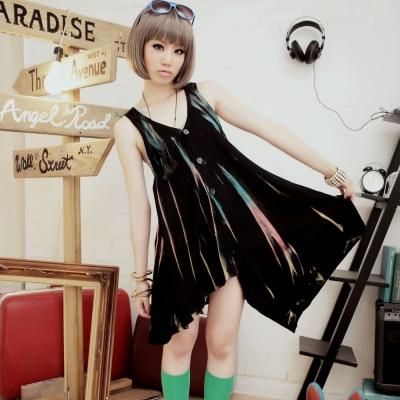 古著 手染漸層彩條刷色不規則開釦背心洋裝