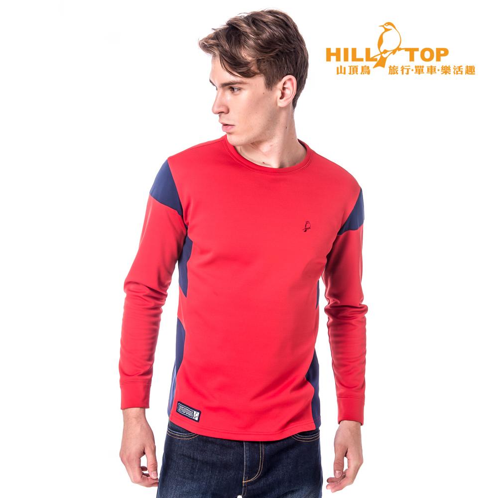 【hilltop山頂鳥】男款吸濕保暖刷毛上衣H51MG5紅/藍