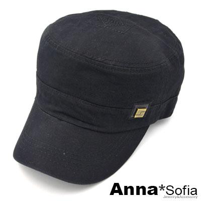 AnnaSofia-方塊銅標三角革飾-棒球帽軍帽-酷黑系