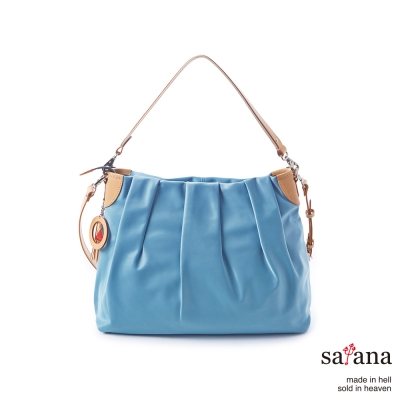 satana -929 Ladies 細緻摺景 優雅率性肩背包-煙灰藍