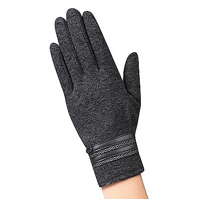 幸福揚邑 防風觸控手套加絨保暖機車手套-皮飾男款-灰