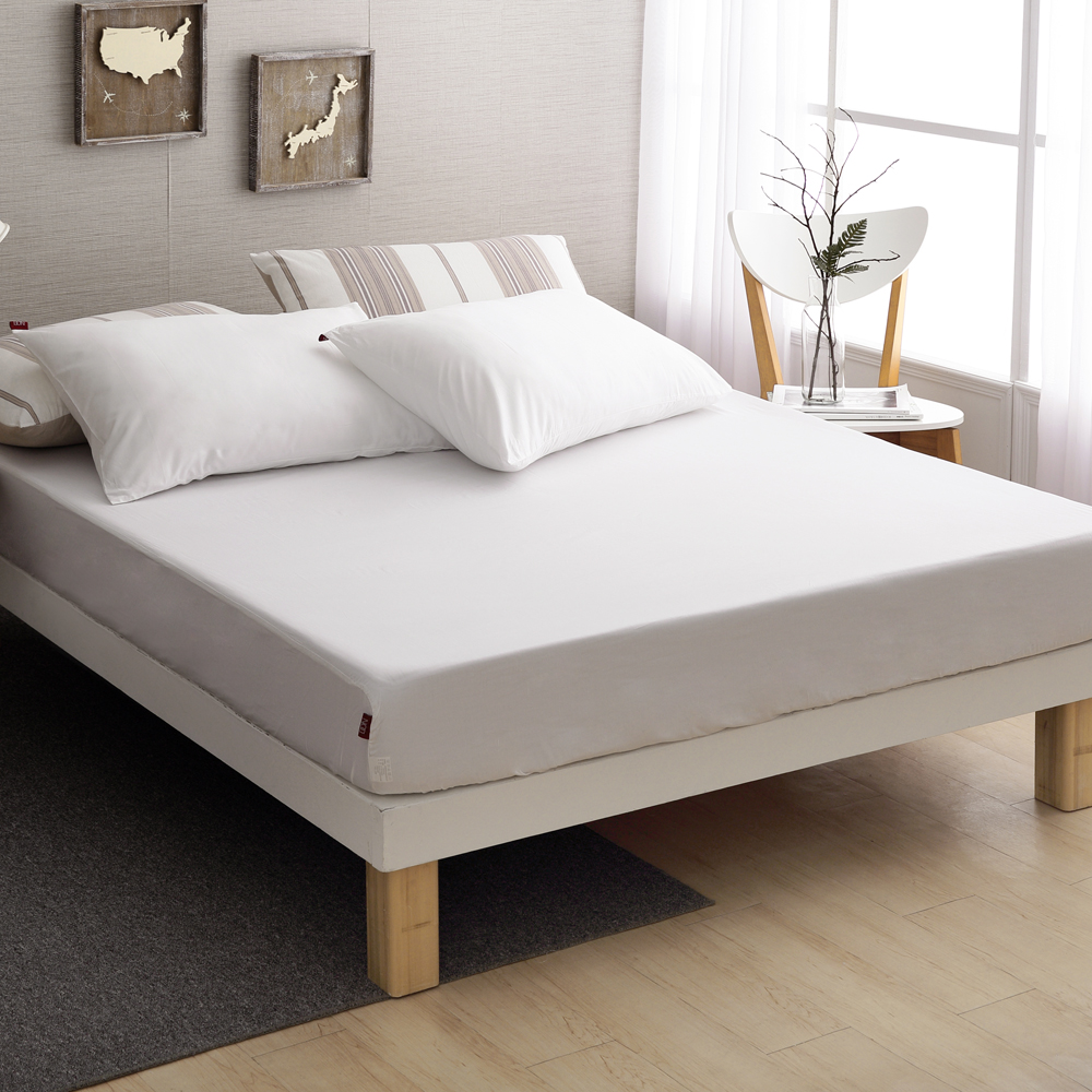 DON極簡生活-晨光白 雙人三件式200織精梳純棉床包枕套組