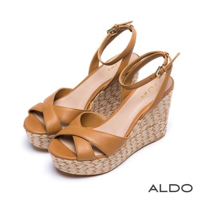 ALDO 真皮雙色麻花編織繫帶楔型涼鞋~氣質焦糖