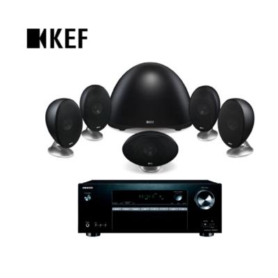 英國 KEF E305 5.1衛星喇叭家庭劇院黑色組 + TX-SR373 影音擴大機
