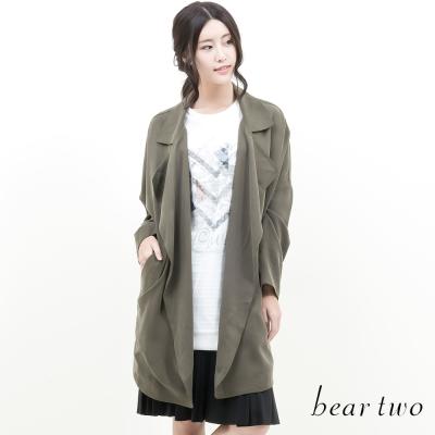 beartwo-寬版繭型翻領風衣外套-卡其