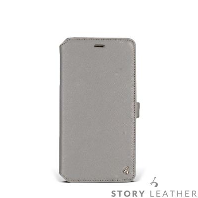 STORYLEATHER i7 Plus / i8 Plus 5.5吋 硬殼式側翻淺藍灰現貨皮套