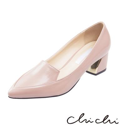 Chichi 韓國直送 漆皮亮面低跟鞋*粉色