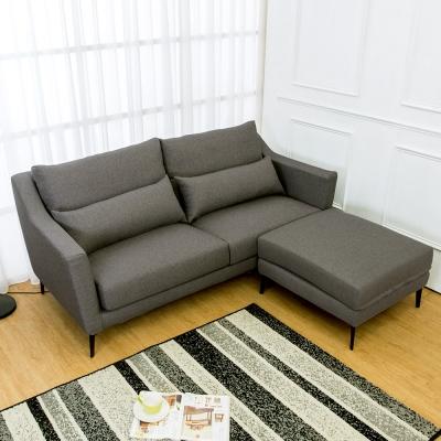 Boden-蒂羅L型灰色防潑水亞麻布沙發(三人座+腳椅)(送腰枕)